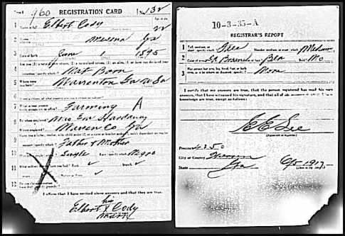 Elbert CODY III - Army Registration Card